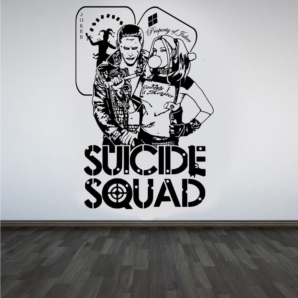 quotes suicide squad wall decal harley quinn joker dc stickers