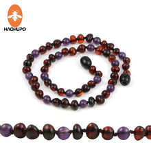 HAOHUPO Polished Natural Amber Teething Necklace for Baby Gift Amethyst Knotted Baltic Cherry Round Handmade Amber Jewelry
