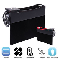 Car Organizer Car Storage Box Organizer Car Seat Gap Slit Cup Holder With USB Mobile Phone Charger