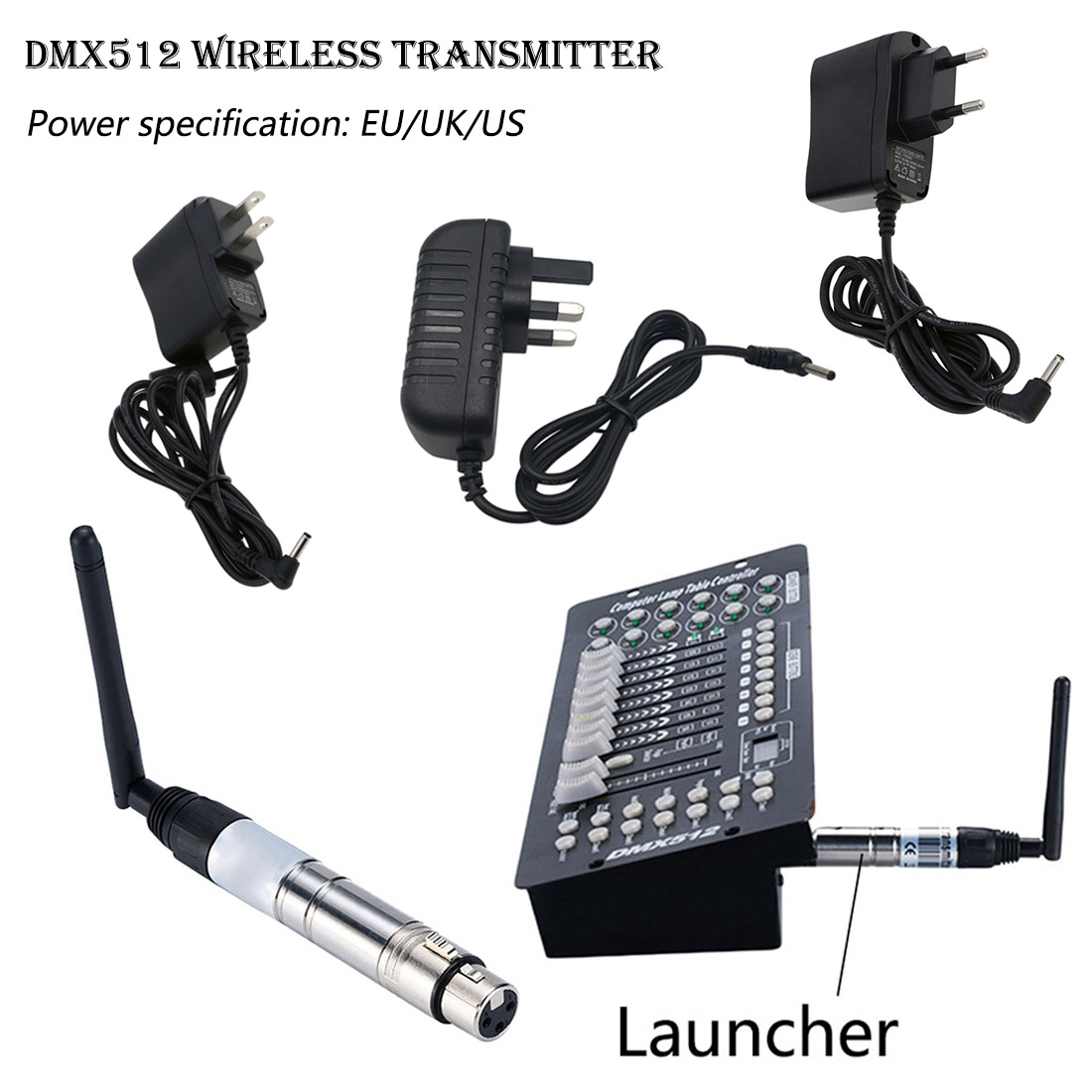 1 Set DMX512 DJ Wireless System Transmitter 2.4G for LED Stage Light LED Light 500m Control1 Set DMX512 DJ Wireless System Transmitter 2.4G for LED Stage Light LED Light 500m Control