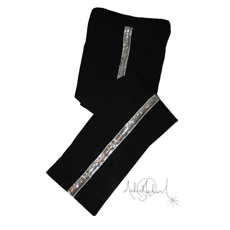 МД Майкл Джексон черные развлечения прямые Серебристые брюки для фанатов Billie Jean выступлений