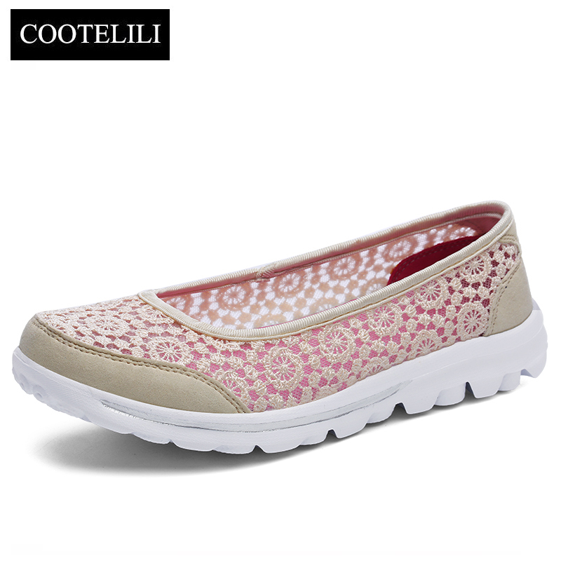 COOTELILI Women Sneakers Platform Casual Shoes Woman Flats Slip on Lace Loafers Ladies Black Gray Red Plus Size 40 41 42 akexiya casual women loafers platform breathable slip on flats shoes woman floral lace ladies flat canvas shoes size plus 35 43