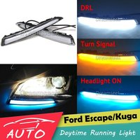 3 Color DRL For Ford Kuga Escape 2013 2014 2015 2016 LED Car Daytime Running Light Driving Fog Lamp With Turn Signal