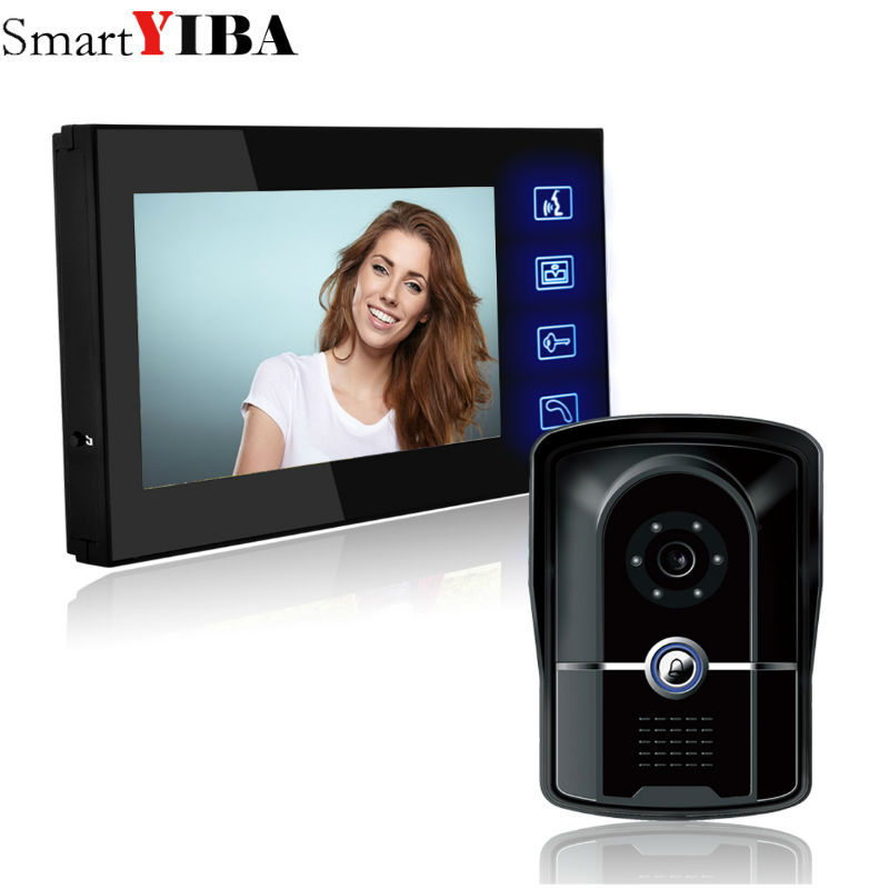SmartYIBA Home Wired Cheap 7 inch LCD Color Video Door Phone DoorBell Intercom System IR Night vision Camera FREE SHIPPING 7 inch color tft lcd wired video door phone home doorbell intercom camera system with 1 camera 1 monitor support night vision