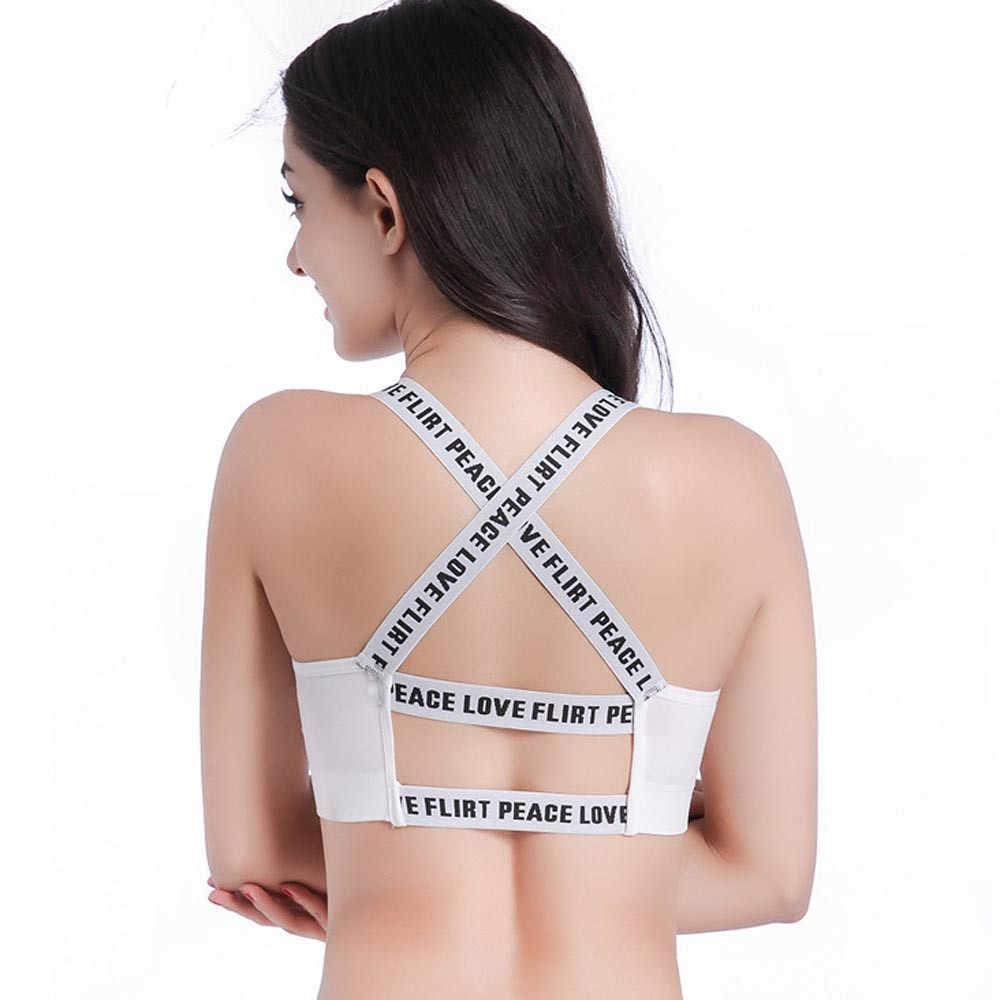 Kobiety przycięte wyściełane czarny alfabet literowy paski modalne zdejmowane z miseczkami na piersi topy typu tuba sport wysuwany biustonosz Sexy podkoszulki #0.7