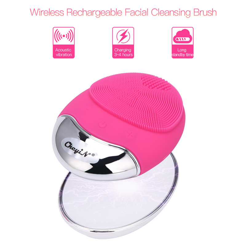 Wireless Charger Facial Cleansing Brush Bamboo Carbon Silicone Electric Sonic Face Brush Deep Pore Cleaner Skin Care Massager 38Wireless Charger Facial Cleansing Brush Bamboo Carbon Silicone Electric Sonic Face Brush Deep Pore Cleaner Skin Care Massager 38
