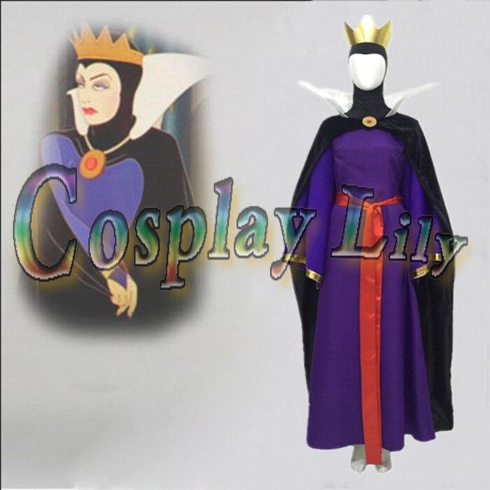 Blanche neige maléfique reine cosplay costume robe adulte robe belle-mère Cosplay Costume robe ceinture Cape couronne