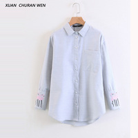 XUANCHURANWEN Women Embroidery Blouse Long Sleeve Loose Cotton Jeans Shirts Ladies Autumn Turn Down Collar Denim