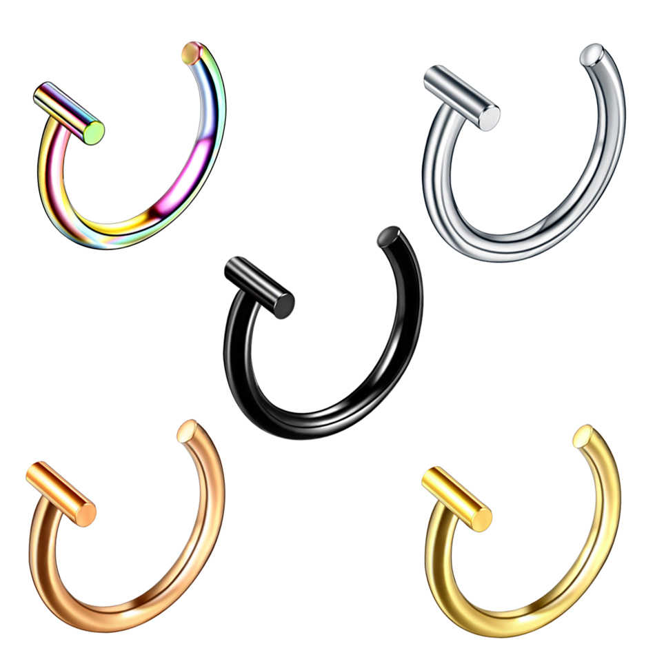 1PC Steel Fashion Labret Stud Ring Circular Bead Rings Horseshoe Eyebrow Tongue Nose Hoop Piercing Ear Cartilage Tragus Jewelry
