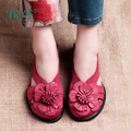 Brand women shoes red flower elegant leather sandals women thick heels hollow out closed toe summer shoes casual