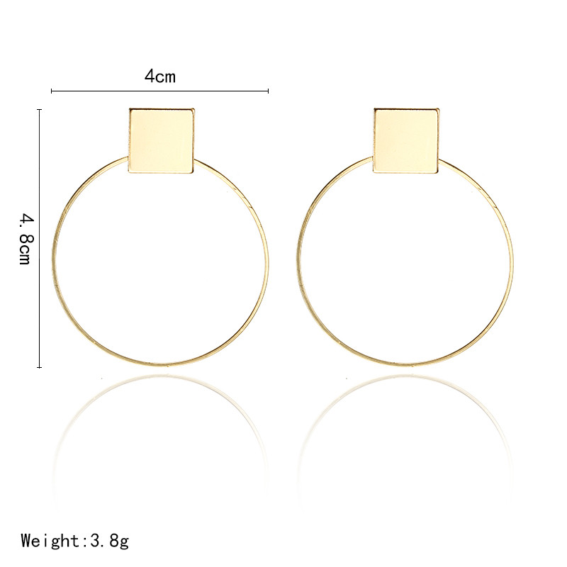 Simple Style Fashion Silver Gold Color Earrings for Women Square Round Geometric Hanging Earrings 18 Female Pendientes Jewelry 8