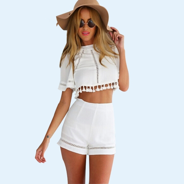 2017 Summer Style Women Jumpsuit Y Outfits Crop Top And Shorts Tel Party Playsuit White Beach