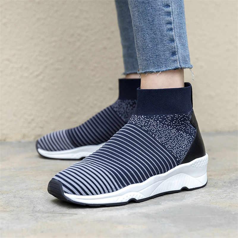 FEDONAS Moda Marka yarım çizmeler Takozlar Platformları Çorap Çizmeler Yuvarlak Ayak nefes alan günlük ayakkabılar Kadın Yeni Spor Temel Botları