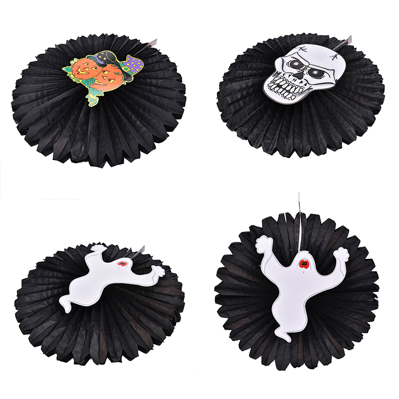 1pc black 48cm haning paper fan decorative pumpkins skeletons ghosts spiders fan halloween paper craft for - Cheap Halloween Crafts