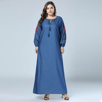 Plus Size Autumn Embroidery Abaya Muslim Jean Dress Dubai Abayas Long Sleeve Bohemian Maxi Dresses Blue vestido 4XL