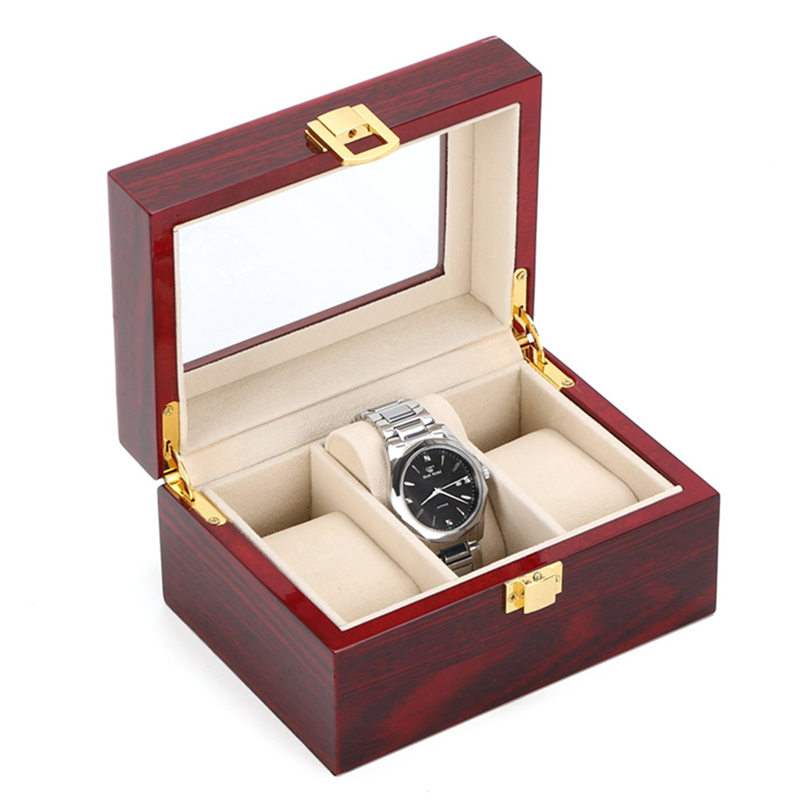 3 Slots Watch Boxes Display Box Case Red Red Wood Watch Organizer - Aksesorë për orë - Foto 1