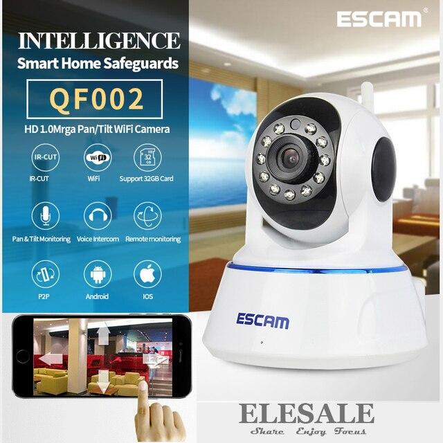 ESCAM QF002 HD 720 P Ip-камера Wi-Fi Беспроводной Монитор Младенца Ик-Ночного Видения P2P Onvif Камеры Безопасности аудио Домофон