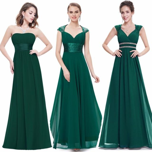 فساتين سهرة جذابة للنساء من Ever Pretty برقبة على شكل حرف v من الشيفون بدون ظهر عتيق بدون أكمام فستان سهرة للحفلات باللون الأخضر الداكن