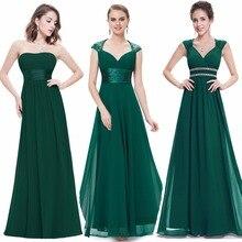 Sonsuza kadar güzel kadın zarif seksi abiye v yaka şifon Backless Vintage kolsuz koyu yeşil parti akşam elbise