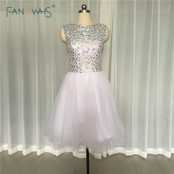 Gorgeous White Short Ball Gown   Cocktail     Dresses   with Crystal Sleeveless Tulle Party Gown Summer Style CPCD27