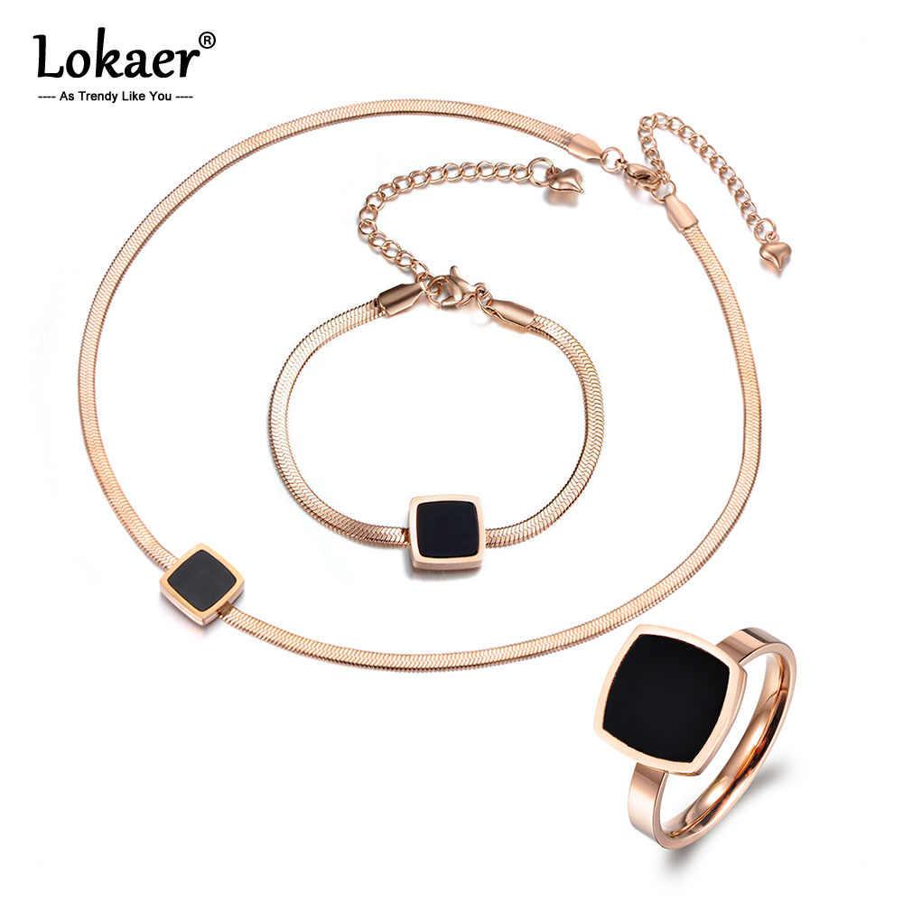 Lokaer 流行黒アクリルネックレスブレスレットリングセットチタン鋼ローズゴールド色オフィス女性のため SE019
