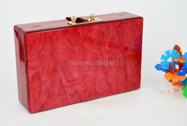 Red Trunk Clutch Bag Fashion brand diamond relief Acrylic Ballot lock luxury handbag evening bag Clutch party purse Shoulder Bag