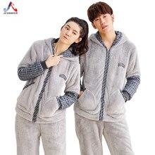 Jcvanker Новая мода зимние пары пижамы костюм для Для женщин Для мужчин плед серый узор с капюшоном на молнии пальто пижамный комплект ворсинок теплые
