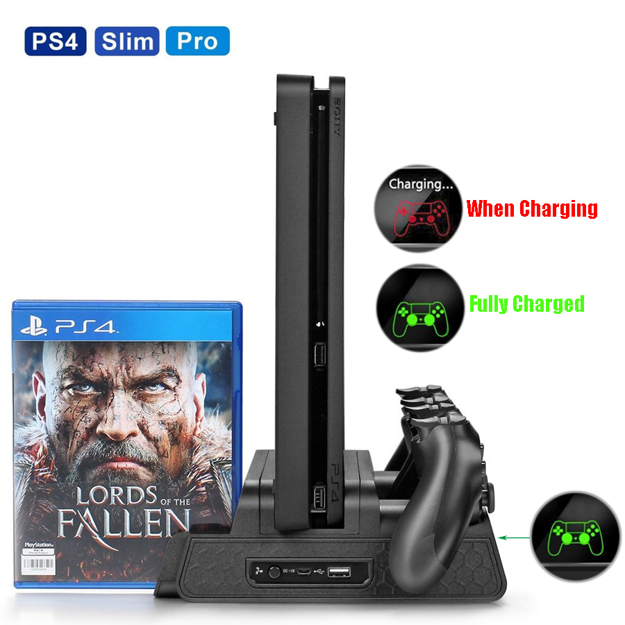 PS4/PS4 Slim/PS4 Pro Multifunctional Vertical Cooling Stand Cooler, PS4 Gamepad Charger with LED Indicator and Disc Storage