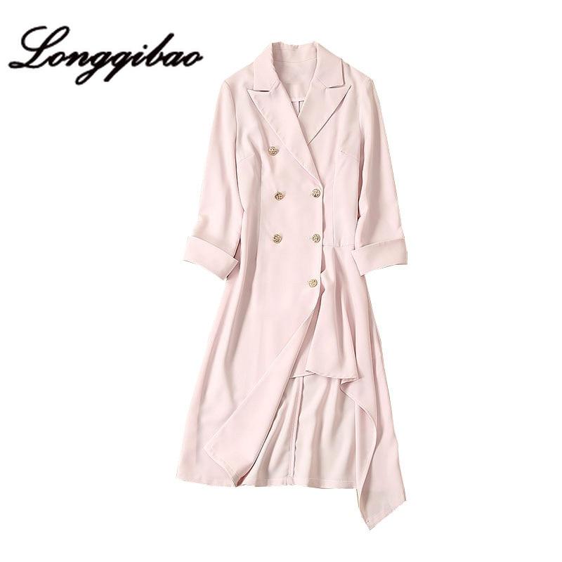 High quality 2019 fashion women's foreign style irregular suit dress fragrance wind waist Hong Kong style cool wind dress - 5