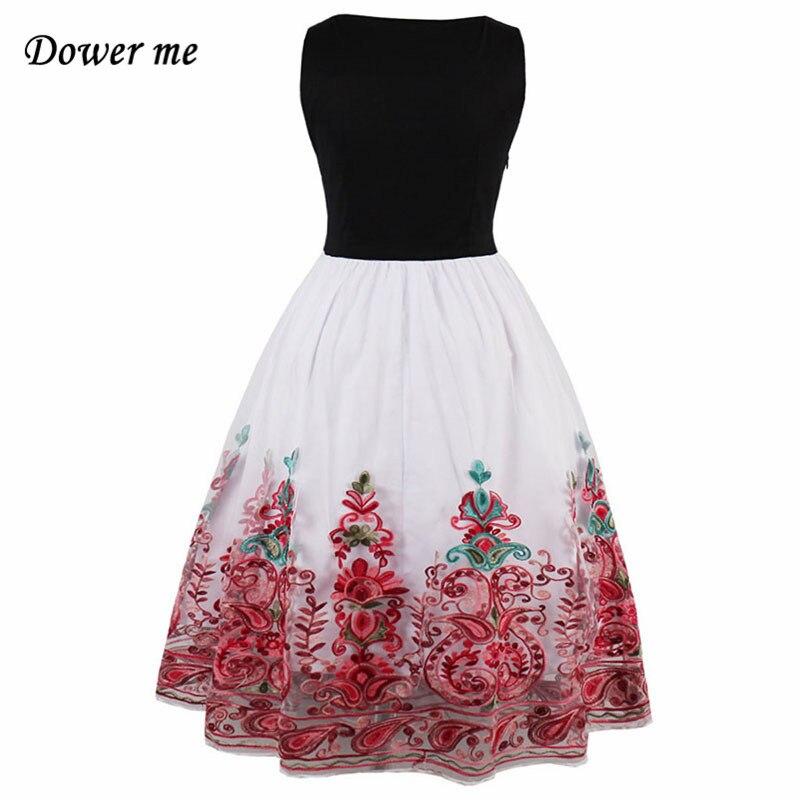 Модные Винтаж Вышивка женское платье vestidos Элегантный О-образным вырезом дамы Платья для вечеринок женские милые платья без рукавов yn2960