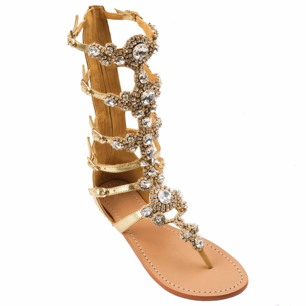 Arden Furtado 2018 summer flats crystal bling bling rhinestone gladiator fashion  sandals shoes woman ladies zipper flip flops-in Women s Sandals from Shoes  ... 2a7317662744