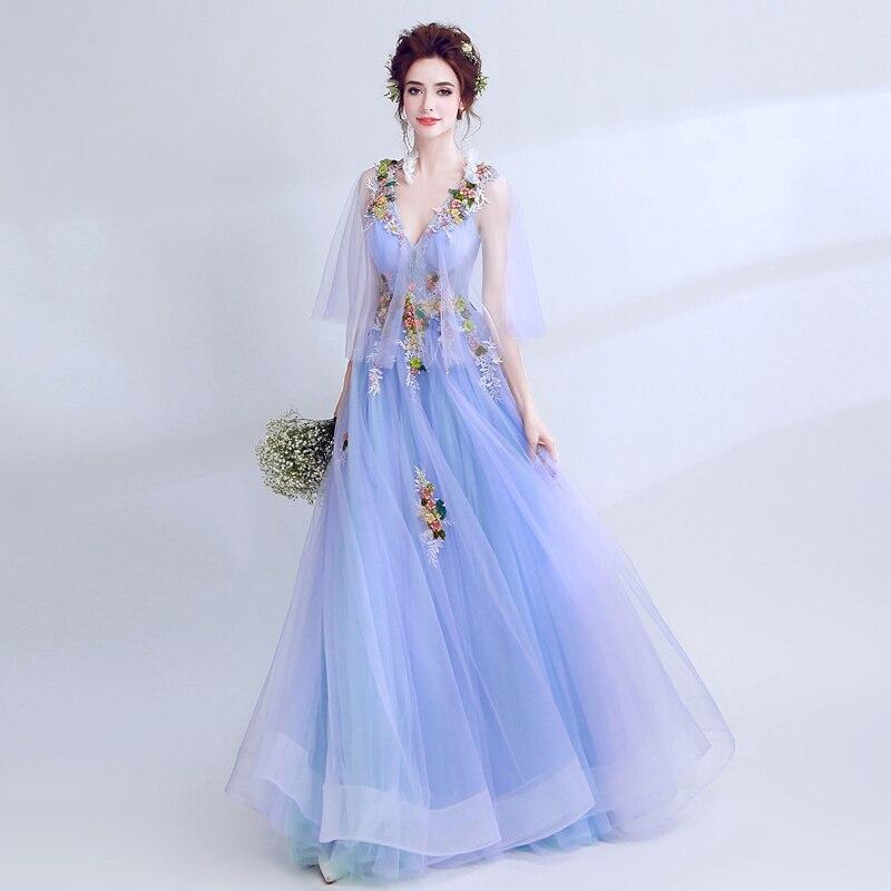 Tulle bleu à la main 3D fleurs appliques longues fée robes de bal avec manches Illusion col en v profond filles robe de Graduation Gala - 2