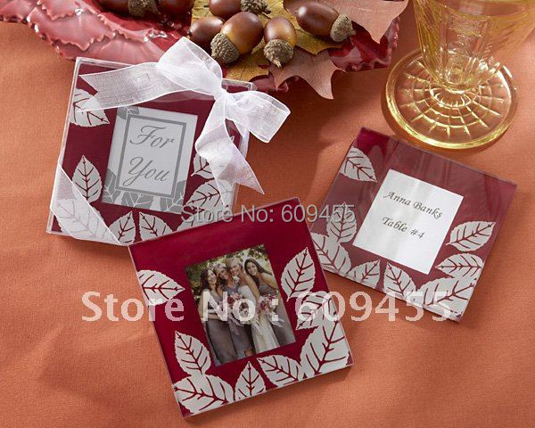 "Wedding Favors ""Fall Impressions"" Glass Photo Coasters - (2pcs/set)+100sets/lot +FREE SHIPPING+Lowest Price(RWF-0029C)"