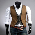 MEBOSYA 2016 Simple Men Black Mens Vest European and American Style Mens Suit Vests Cheap Men Slim Fit Vest China Imported