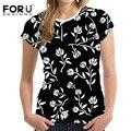 Forudesigns 2017 t-shirt de la mujer negro rose floral vintage mujer t shirt ropa de verano casual tops tees blusa de las muchachas camiseta