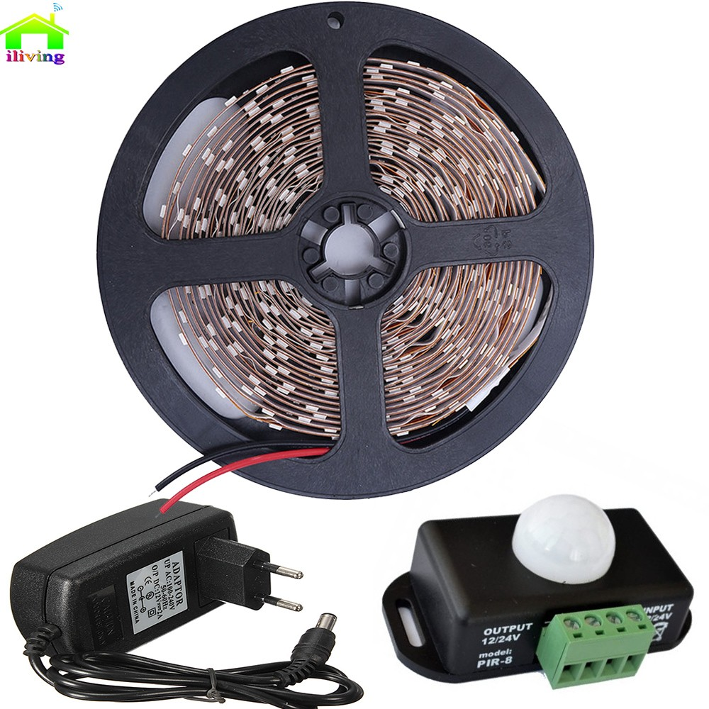 5 M 2835 SMD Fita de Diodo Tira LED Tiras Com PIR infravermelho detector de sensor de movimento interruptor de luz 12 V 2A Adaptador de Iluminação Kit Completo