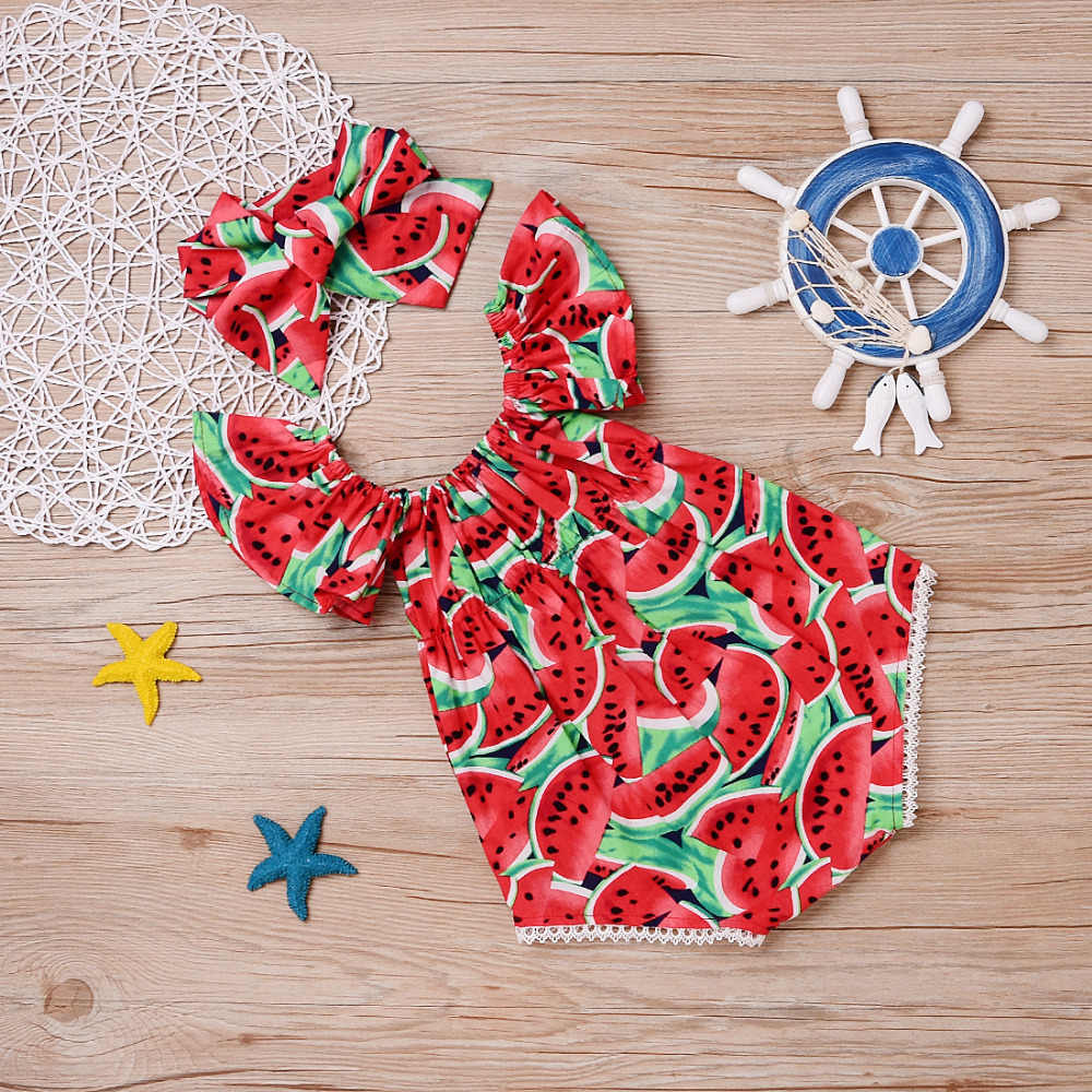 Toddler Trẻ Sơ Sinh mới Bé Sơ Sinh Gái Dưa Hấu In In Không Tay Bodysuit Sunsuit Jumpsuit Quần Áo Giản Dị