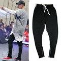 Лето корейский хип-хоп мода Полная Длина брюки на молнии Тонкий M-XL черный серый мужчины городской бегуном брюки одежда Мода бог