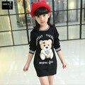 2015 Todo o Jogo Outono Criança Do Sexo Feminino de Médio-Longo Criança Urso T-Shirt da Longo-Luva Camisa 100% Algodão Top Bebê Menina roupas para crianças