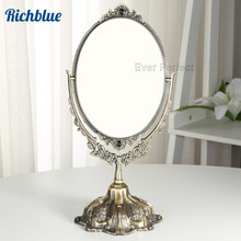 Antique Style Faux Bronze 360 Degree Rotate Dual Sided Cosmetic Mirror Make-up For Desktop Dresser Counter1206