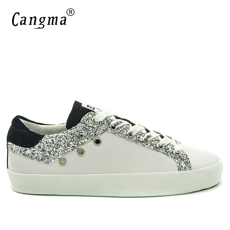 CANGMA Men  Sneakers Balck White Breathable Genuine Leather Men Shoes Plus Size Valentine Shoes Casual Footwear 2019 New-in Men's Casual Shoes from Shoes    2