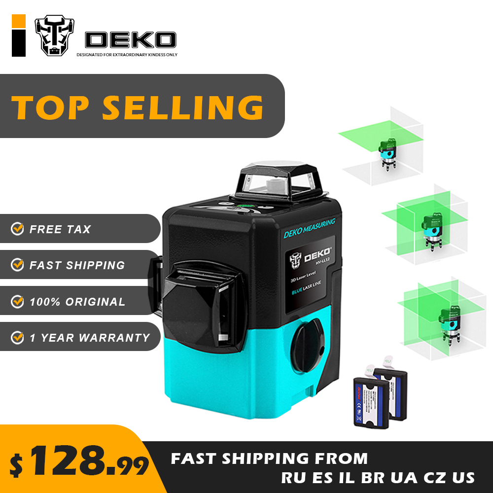DEKO LL12 HV 12Lines 3D Green Laser Level Self Leveling 360 degree Rotary Lasers Horizontal Vertical