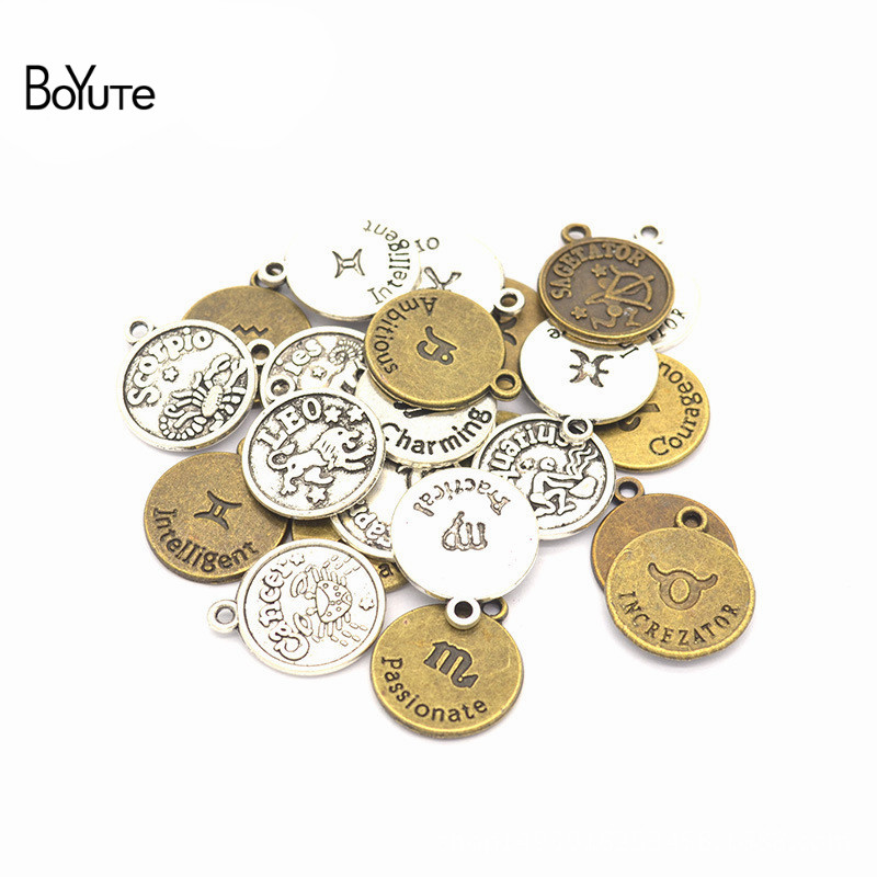 BoYuTe (12 Pieces/Set) Metal Alloy 20*17MM Sign Zodiac Charms Pendant Diy Hand Made Jewelry Accessories(China)