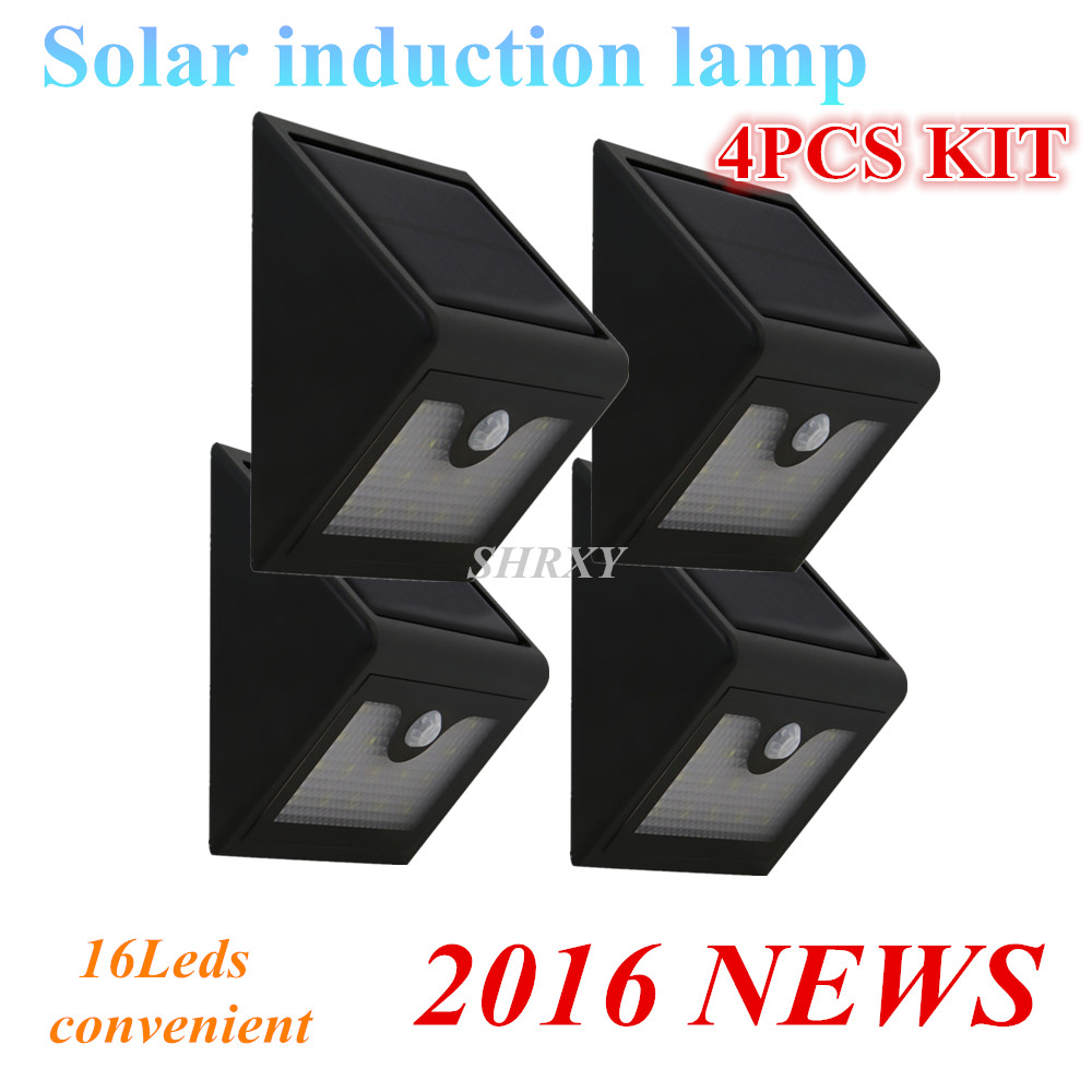 Updated Version 16 LEDS Solar Light 4PCS Motion Sensor Wall Lamp Waterproof Outdoor Garden Yard Path Fence Emergency Lightings 6 leds fence lamp
