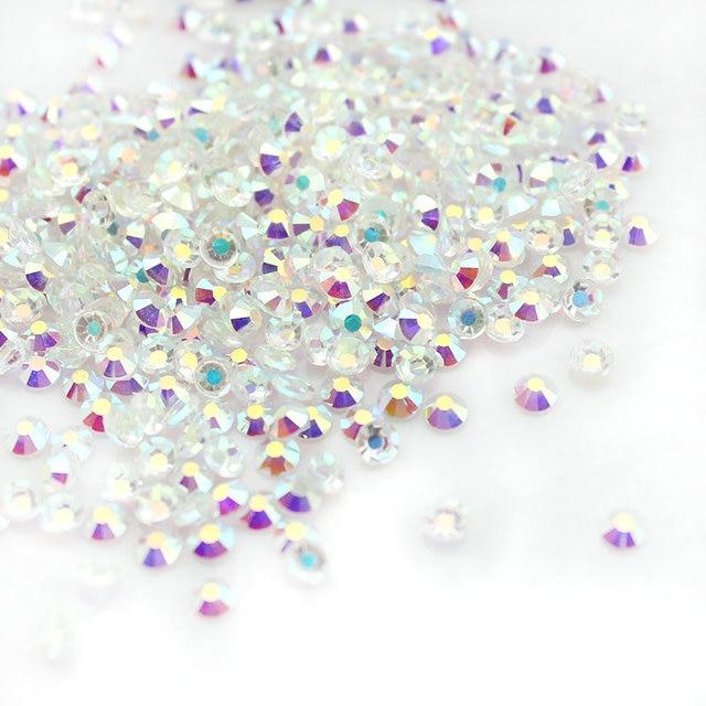 Mix Sizes Transparent Stone SS3-SS16 Glass Clear AB 3D Nail Rhinestones,1440pcs/lot Flat Back Non Hotfix Rhinestone