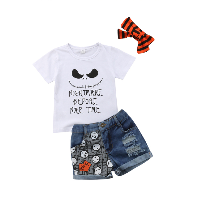 0e5f801dbcf Infant Toddler Kid Girl Clothes Baby Halloween T-Shirt Tops+Denim Shorts  Outfits