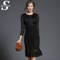 SunnyYeah 2018 New Hollow Out Lace Spring Women Dress Slim Black Sexy Bodycon Midi Dresses Ladies