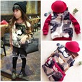 New Faux Fur Girl's Winter Jacket Pullover Thickening Warm Kids Camouflage Fur Sweatshirt With Fleece Inside 3 Colors Hoodies