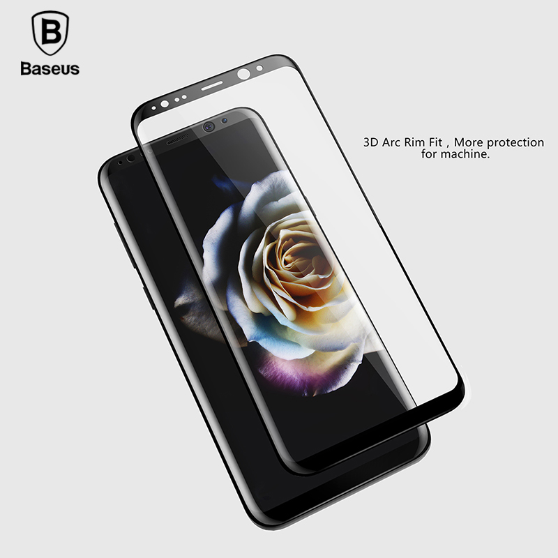 Baseus Screen Protector For Samsung Galaxy S8 / S8 Plus Full cover 3D Arc Tempered Glass For Galaxy S8 Protective Glass Film