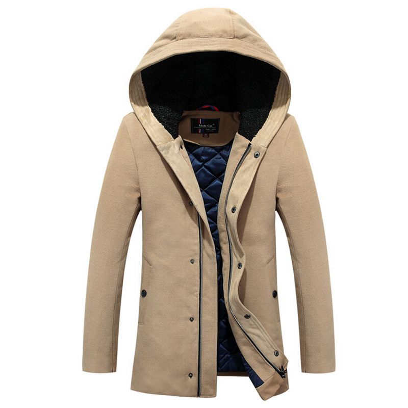 Long Section Men's Solid Cotton-padded Wadded Jacket Fashion Clothes Trench Coat Hooded Jackets Casual Outerwear Slim Parka 3XL olgitum 2017 women vest jackets new fashion thickening solid casual cotton fashion hooded outerwear